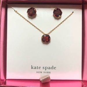 kate spade red january necklace and earrings